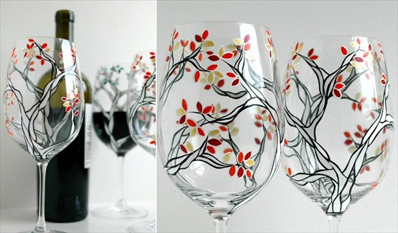 Fall Wine Glasses by Mary Elizabeth Arts (via The Marketplace at EmmalineBride.com)