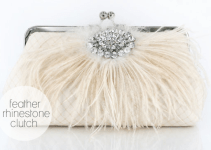 feather rhinestone clutch