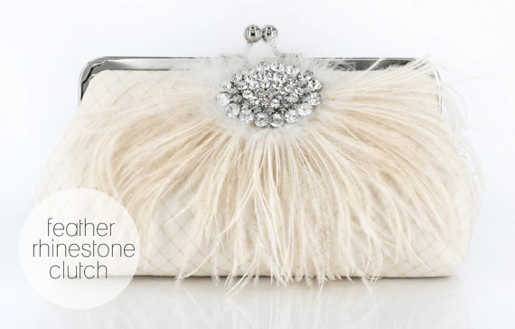 Feather Rhinestone Clutch by Angee W.