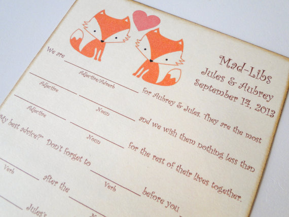 fox mad libs by the trendy sparrow | Fox Ideas Weddings via http://emmalinebride.com/rustic/fox-ideas-weddings/