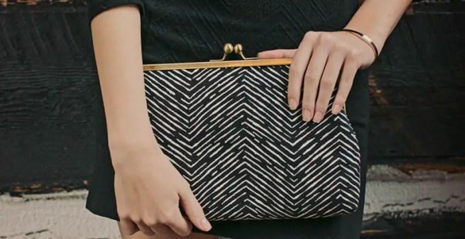 geometric black and white clutch