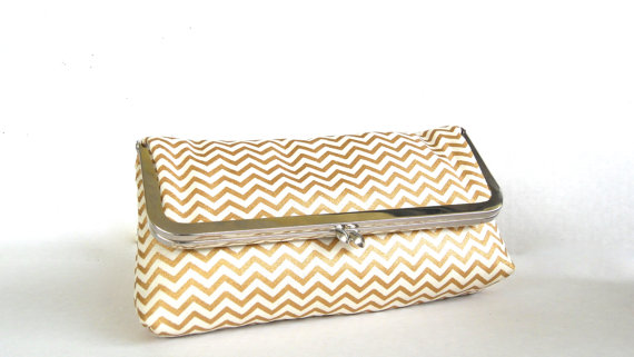 gold chevron wedding clutch purse