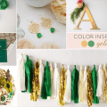 gold green wedding colors board