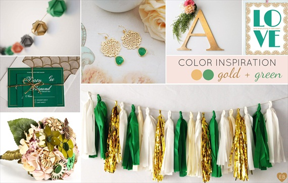 Gold and Green Wedding Colors Inspiration Board