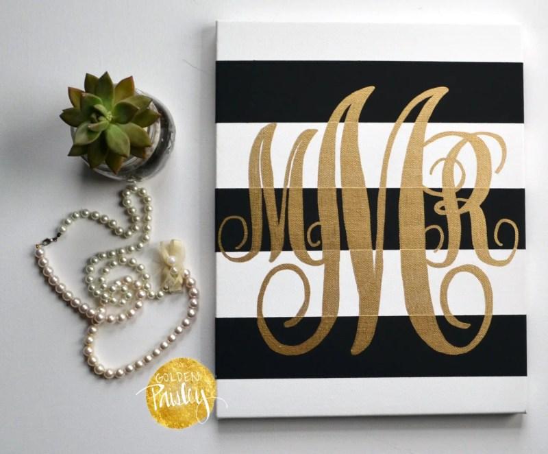 gold monogram wall art by golden paisley | bridesmaid gift ideas http://emmalinebride.com/gifts/bridesmaid-gift-ideas/