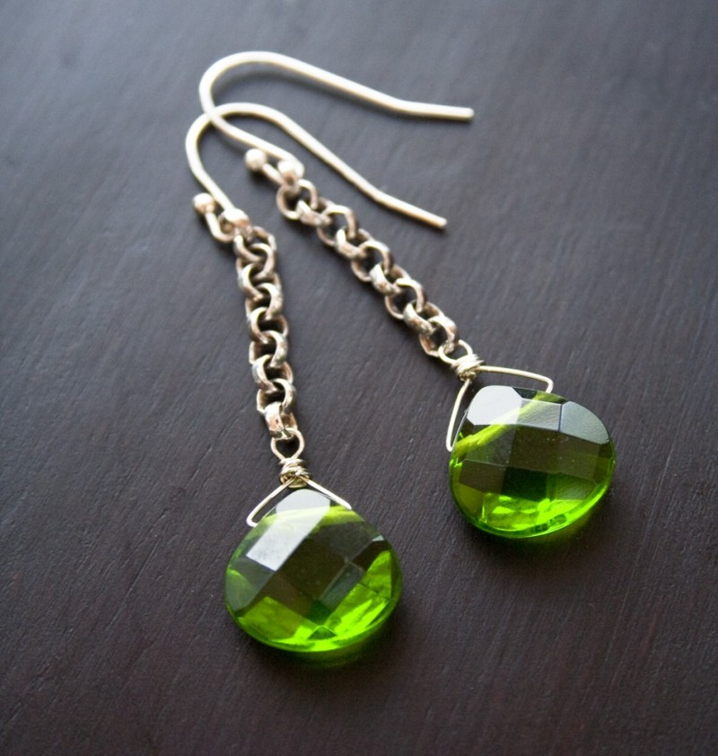 green glass drop earrings via 5 under 25 jewelry gifts from laura stark