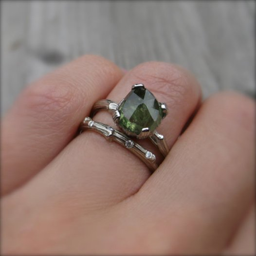 bold green sapphire engagement ring diamond alternative