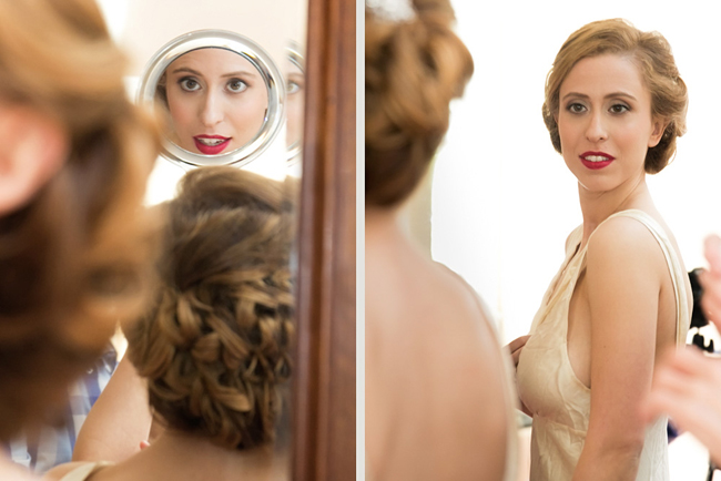 bride getting ready at her Connecticut waterfront wedding - photo: Melani Lust Photography | via http://emmalinebride.com