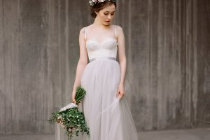 grey wedding dress ballet inspired