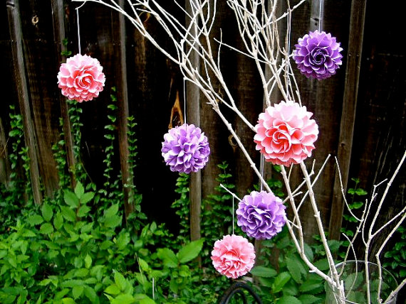 hanging paper flowers pink purple