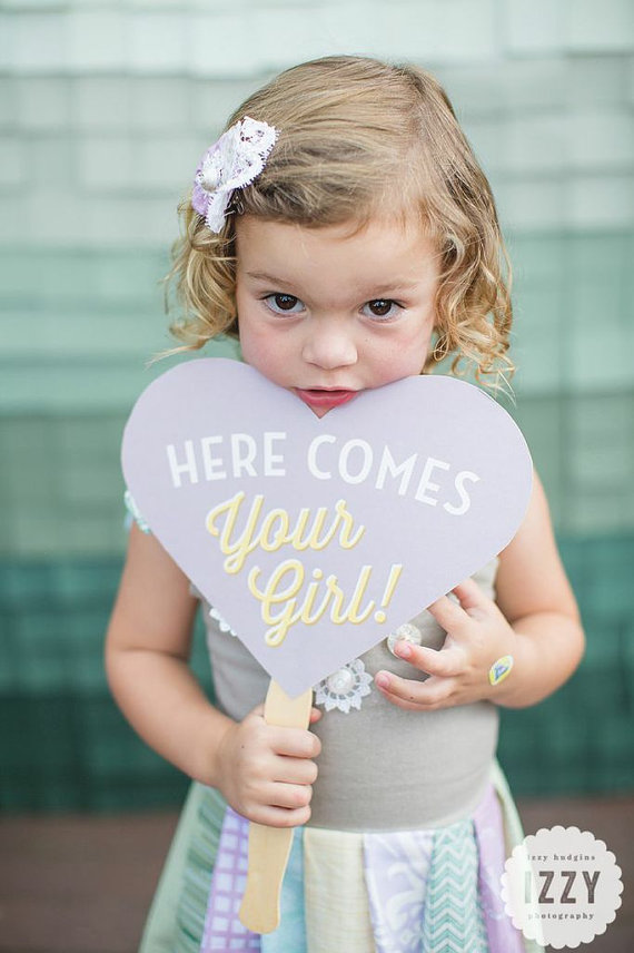 here comes your girl photo prop sign | Fun Wedding Photo Props | http://emmalinebride.com/decor/fun-wedding-photo-props/
