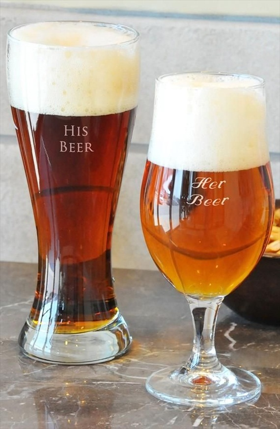 his beer, her beer via 8 Creative Wedding Drink Glasses