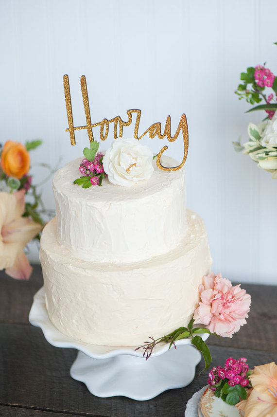 hooray | fun cake toppers in words
