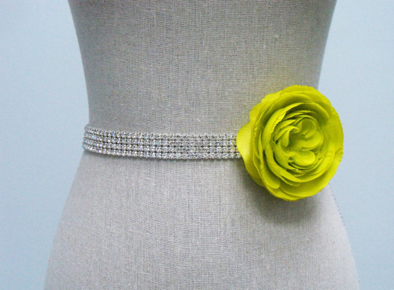 How to Choose a Bridal Sash in 3 Easy Steps (sash by SparkleSM) - cole with green flower