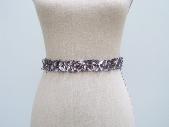 How to Choose a Bridal Sash in 3 Easy Steps (sash by SparkleSM) - mckenna purple rhinestone sash