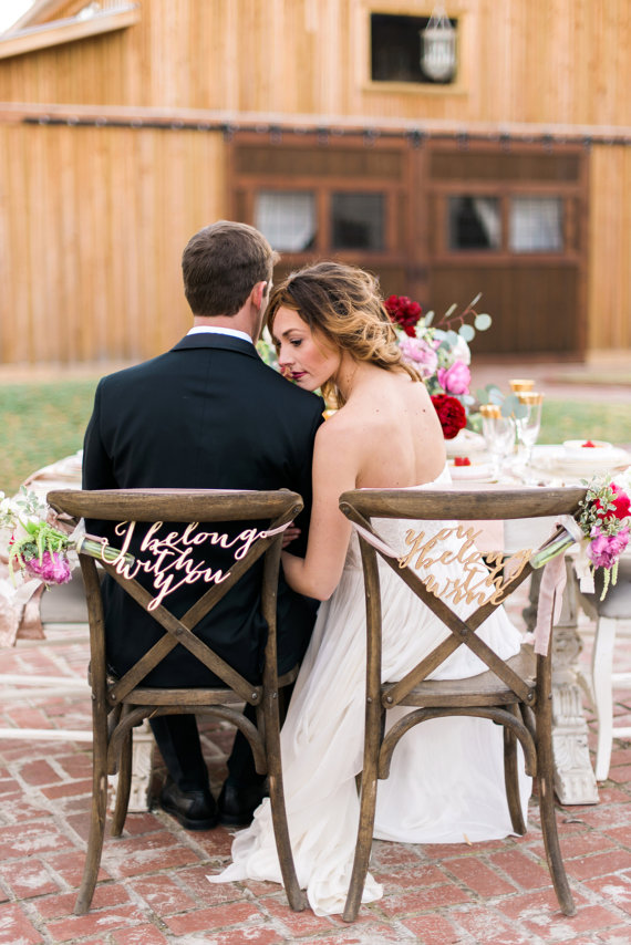 i belong with you bride and groom chair signs | via bride and groom chair signs http://emmalinebride.com/decor/bride-and-groom-chairs/