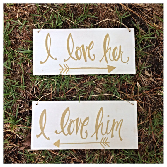 i love her i love him | via bride and groom chair signs http://emmalinebride.com/decor/bride-and-groom-chairs/