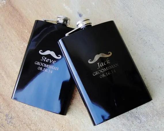 mustache groomsmen flasks - Best Groomsmen Gifts
