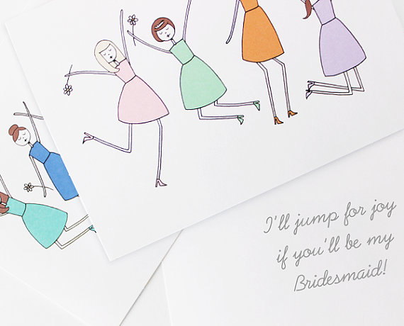 ill jump for joy bridesmaid card (be my bridesmaid card)