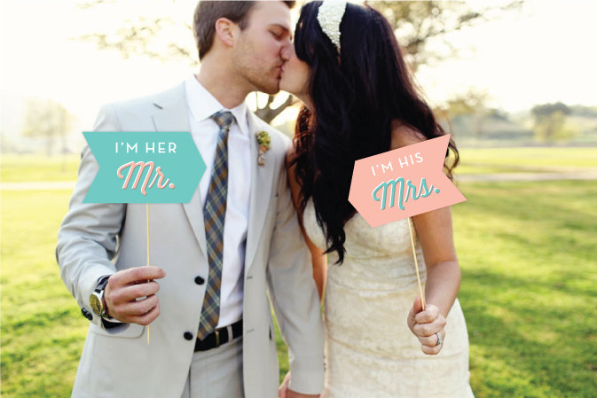 im her mr im his mrs photo props | Fun Wedding Photo Props | http://emmalinebride.com/decor/fun-wedding-photo-props/