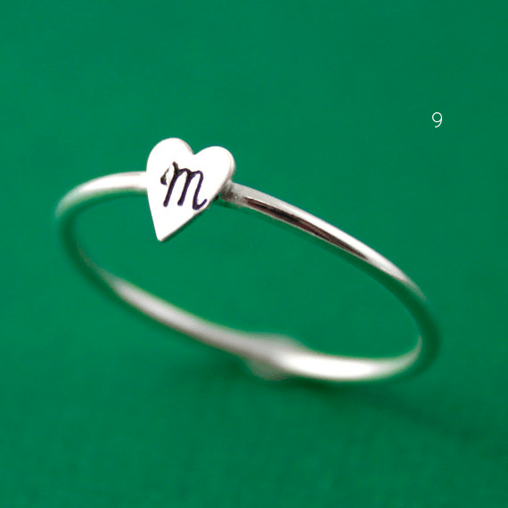 initial heart stacking ring