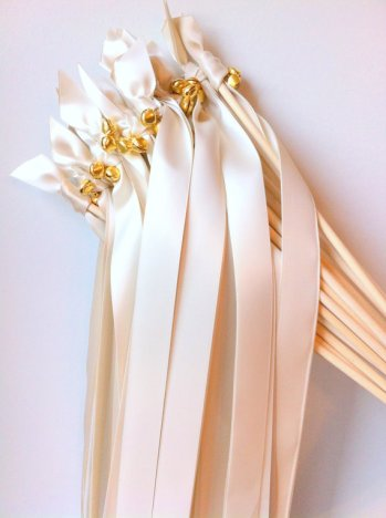 ivory ribbon wands