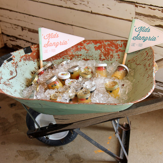 Wedding Drink Station Ideas - wheelbarrow for kids' drinks