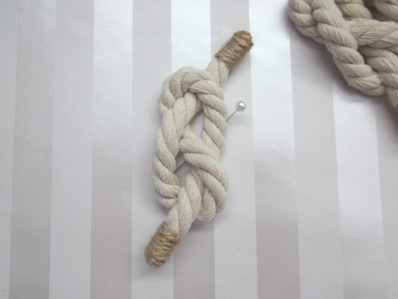 knotted rope boutonniere for nautical wedding | via What Kind of Boutonniere to Pick (and Why) http://emmalinebride.com/groom/what-kind-of-boutonniere/