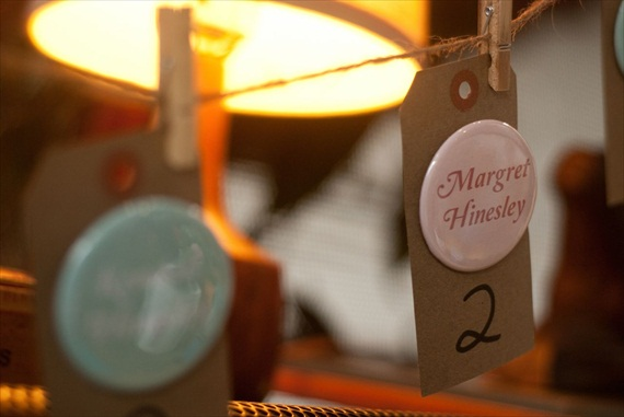 DIY Wedding Ideas: Kraft Tag Escort Cards with Buttons (by Harmony Creative Studio), photo by Meghan Christine Photography