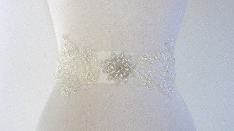 lace and pearl applique sash 2