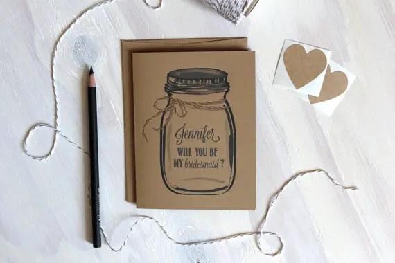 mason jar be my bridesmaid card