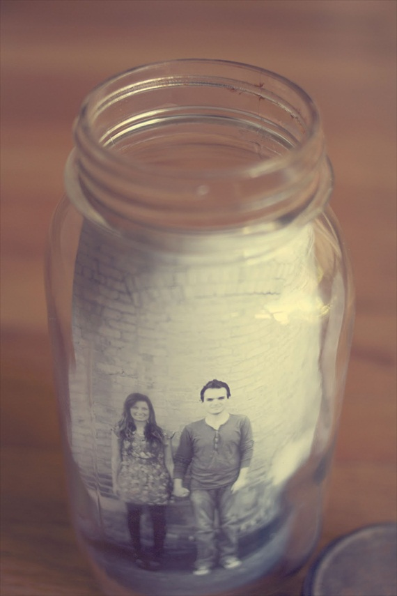 Easy Wedding DIYs - mason jar photo jar