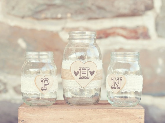 8 Fresh Rustic Wedding Decor Ideas - mason jar unity set (by PNZ Designs, photo: Melania Marta Photography)