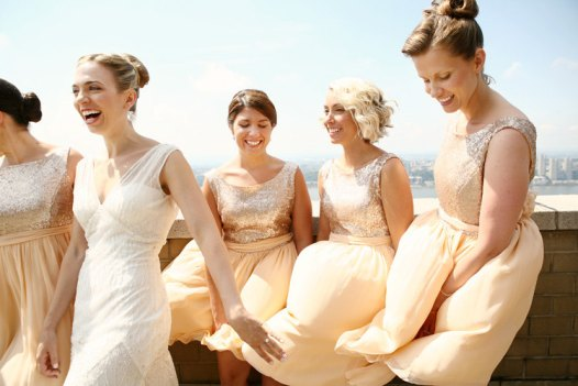 Gold Chiffon Bridesmaid Dresses with Sequin Bodice | by Dahl | http://emmalinebride.com/bridesmaids/gold-chiffon-bridesmaid-dresses/
