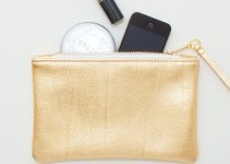 metallic gold leather zipper wristlet