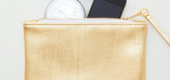 metallic gold leather zipper wristlet
