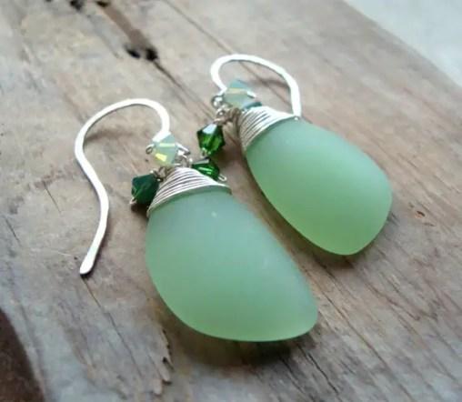 mint green sea glass earrings by fuchsia bloom studio