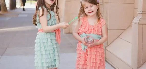 mint ruffle flower girl dress