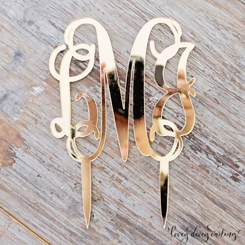 monogram gold mirror cake topper