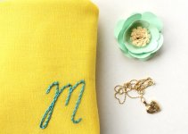 monogrammed cosmetic pouch yellow