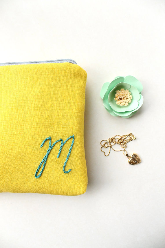 monogrammed cosmetic pouch yellow | monogrammed bridesmaid gifts