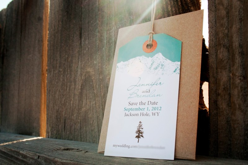 mountain save the date tags marova | http://emmalinebride.com/rustic/mountain-wedding-ideas/
