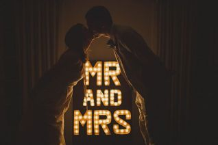 mr and mrs wedding marquee lights