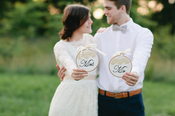 mr and mrs wedding sign embroidered wedding hoop art