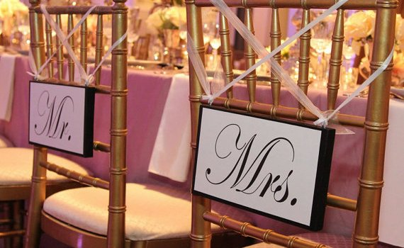 mr mrs wedding chair signs