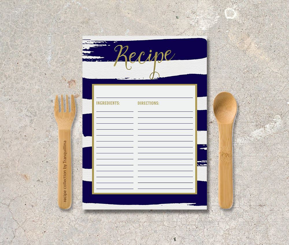 nautical striped recipe cards by tranquillina
