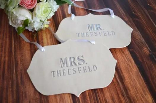 custom wedding chair signs   new name wedding chair signs