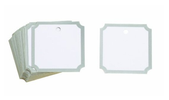 notched square favor tags