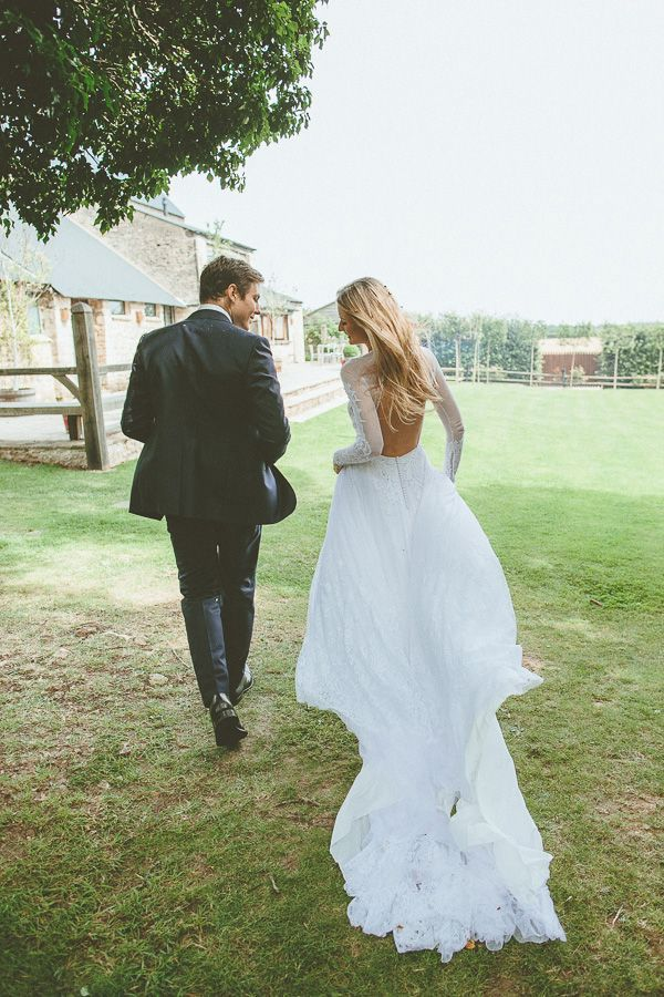 open back wedding dress with sleeves