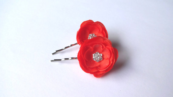 orange ranunculus hair pins - flower pins by hair blossoms boutique